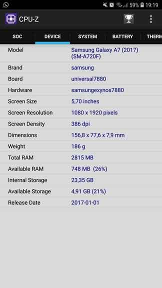 Informacion sobre el hardware de tu celular