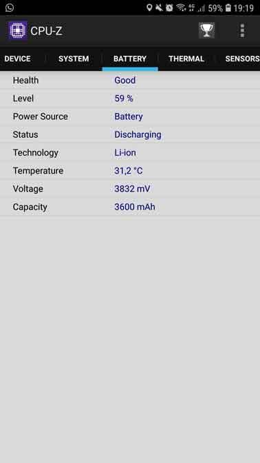 Información sobre la batería del celular