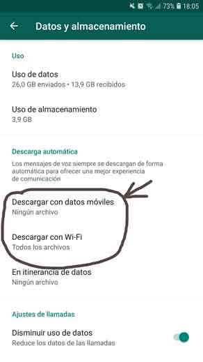 Deshabilitar descarga automatica de archivos en Whatsapp